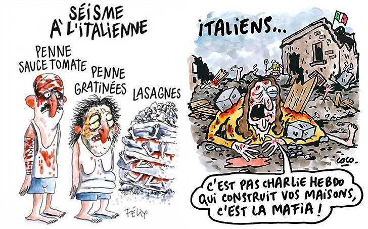 Terremoto, Amatrice querela Charlie Hebdo per le vignette